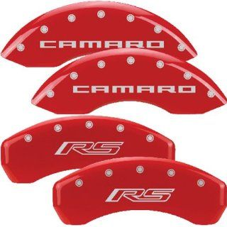 MGP Caliper Covers Chevrolet Camaro 2010 2011 2012 (Licensed Logo, Camaro and RS)   Red Automotive