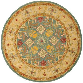 Handmade Legacy Light Blue Wool Rug (4' Round) Safavieh Round/Oval/Square