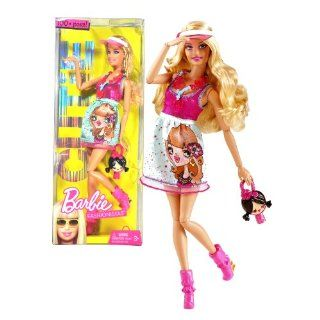Mattel Year 2009 Barbie Fashionistas Series 12 Inch Doll   CUTiE Theme Barbie with Pink and Blue Baby Doll Dress, Necklace, Visor Hat, Cute Doll Shaped Purse and Pair of High Heel Shoes (T3324) Toys & Games