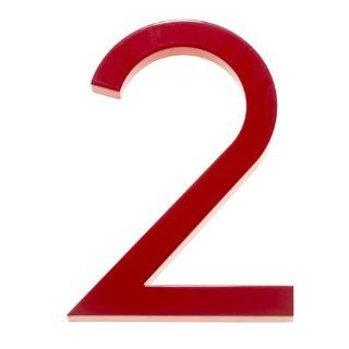 "Modern House Number Red Color Aluminum Modern Font Number Two ""2"" 8 inch Patio, Lawn & Garden"