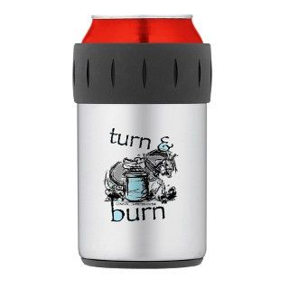 Turn and Burn Barrel Racing Thermos® Can Cooler by CowgirlImpressionism