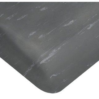 "Wearwell PVC 419 UltraSoft Tile Top Anti Microbial Mat, Safety Beveled Edges, for Dry Areas, 2' Width x 3' Length x 7/8"" Thickness, Charcoal"