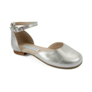 Elephantito Girl's Ballet Flat, Silver, Leather, 02 Shoes