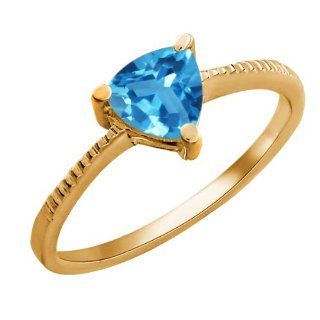 0.96 Ct Trillion Swiss Blue Topaz 18K Yellow Gold Ring Jewelry
