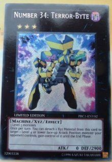 Yugioh   PRC1 ENV02 Number 34 Terror Byte Secret Rare Alternate Alter Art   2012 Premium Tin Promo Toys & Games