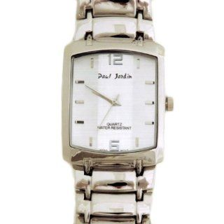 Paul Jardin Designer Men's Dress Watch Silver Bracelet, Silver Face with Silver Accents Watches