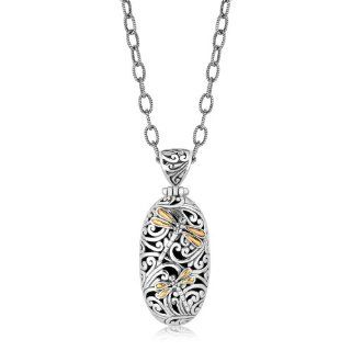 18K Yellow Gold and Sterling Silver Oval Pendant with Dragonfly Accents Jewelry