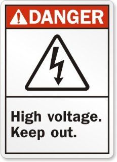 "Danger (ANSI) High Voltage Keep Out (with graphic), Heavy Duty Aluminum Sign, 18"" x 12"""