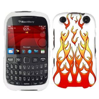 BlackBerry Curve 9310 Red Flames on White Hard Case Phone Cover Cell Phones & Accessories