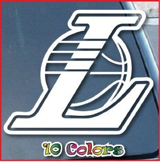 "LA Lakers Car Window Vinyl Decal Sticker 4"" Wide (Color White)"