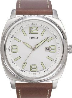Timex 2J101 Men's Bold 45mm Silver Tone Stainless Steel Case Vintage Military SST Watch with Brown Genuine Leather Band Timex Watches