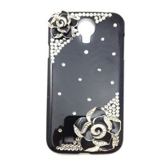 Miss Darcy New 3D Bling Black Camellia Flowers Crystal Rhinestone Protective Case Cover Skin for Samsung Galaxy S4 SIV i9500 Cell Phones & Accessories