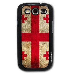 Flag of Georgia Country Grunge   Protective Designer BLACK Case   Fits Samsung Galaxy S3 SIII i9300 Cell Phones & Accessories
