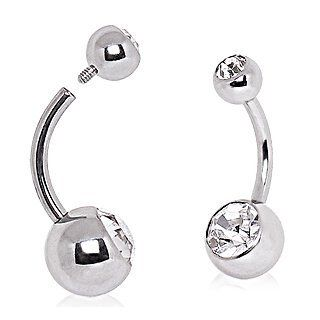 316L Surgical Steel Internally Threaded Belly Ring with Clear Cubic Zirconia   14G (1.6mm), 7/16'' Length, 5x8mm Ball Size   Sold Individually Jewelry