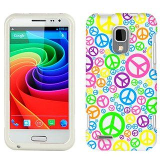 ZTE N9510 Multi Color Peace Sign on White Phone Case Cover Cell Phones & Accessories
