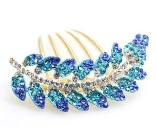 Beautiful Life Pink Color Crystals Rhinestone Flower Vintage Style Bronze Jewelry Hair Pin Clip(Blue)  Beauty