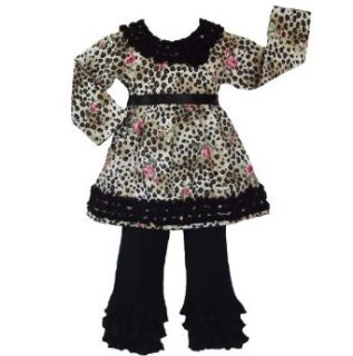 Girls Cotton Leopard Rose pants and shirt Kids Clothing Set Clothing