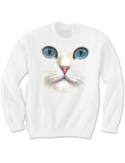 Cat Face Blue Eyed Kitty Feline Lovers Cozy Warm Winter White Sweatshirt Clothing