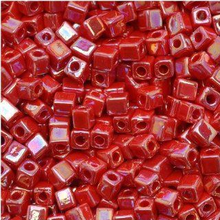 Miyuki 4mm Glass Cube Beads Opaque Red AB 10 Grams Arts, Crafts & Sewing