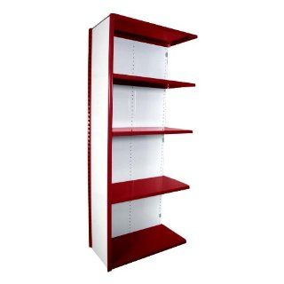 "Equipto 671 5A V Grip 18 Gauge Heavy Duty Steel Closed Shelf Add On Unit with 5 Shelves, 650 lbs Shelf Capacity, 36"" Width x 84"" Height x 12"" Depth, Red"