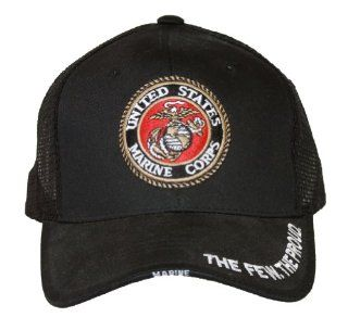 Shadow United States Marine Corps Logo Trucker Snapback Adjustable Hat  Blackout Sports & Outdoors