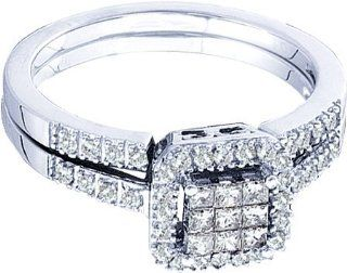 Ladies 14k White Gold .38ct Round Princess Cut Diamond Engagement Wedding Bridal Ring Set Jewelry
