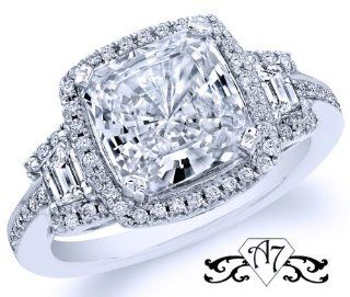 2.5 Ct Genuine Cushion Diamond Engagement Wedding Ring 14K Gold (1.00 Ct Center E   F / VS2   Si1) Jewelry