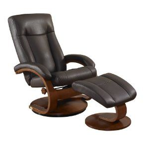 Oslo Collection 5400 612 103 Shiatsu Massage Bonded Leather Swivel Recliner with Ottoman, Palace Hickory   Chair Ottoman