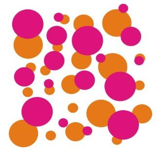 set of 106 Orange and Pink polka dots Vinyl wall lettering stickers quotes and sayings home art decor kit peel stick mural graphic appliques decal