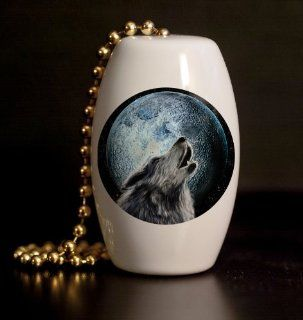 Howling Wolf Porcelain Fan / Light Pull