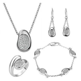 18k White Gold Plated Swarovski Elements Crystal CZ Rhinestone jewelry Sets Necklace, Bracelet, Ring, Earrings Jewelry