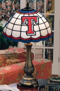 "Sports Team Stained Art Glass Window Panel Table Lamp   19.5""hx12""d shd, Texas Rangers"