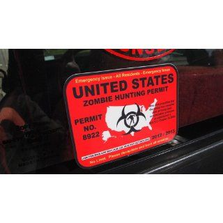 United States zombie hunting permit license decal bumper sticker Automotive