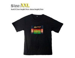 113 Fashion Sound Activated Light up down LED EL Short sleeved T shirt with XXL (Black)