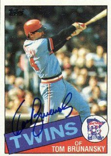 Tom Brunansky Autographed 1985 Topps #122 Card   Minnesota Twins  Sports Related Collectibles  Sports & Outdoors