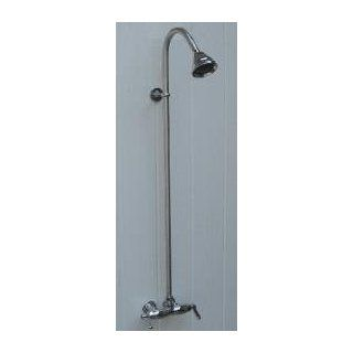 Outdoor Shower Co, WMHC 445 CPB Wall Mount Hot and Cold Water Shower Unit with Chrome Plated Brass Valve