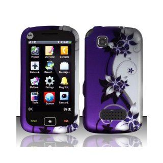 Purple Silver Flower Hard Cover Case for Motorola EX124G Cell Phones & Accessories