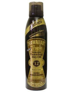 Hawaiian Tropic Protective Tanning Dry Oil Continuous Spray SPF 12 4 fl oz (118 ml) Beauty