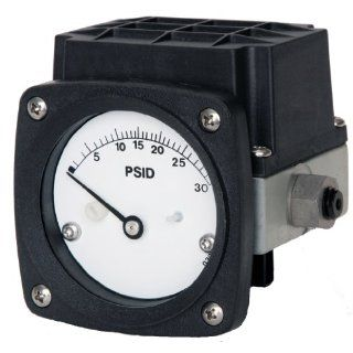 "Mid West 121 SA 00 O(AA) Differential Pressure Gauge, 316 Stainless Steel Case, Stainless Steel Wetted Parts and 1 Reed Switch in NEMA 4X/IP65 Plastic Enclosure, Piston Type, 2% Full Scale Accuracy, 2 1/2"" Dial, 1/4"" FNPT Back Connection, 3000 ps"
