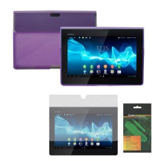 iShoppingdeals   Purple Rubber TPU Cover Skin Case and Anti Glare Matte Screen Protector for Sony Xperia Tablet S (SGPT121US/SGPT122US/SGPT123US) Computers & Accessories