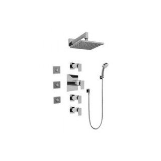 Graff GC1.132A C10S SN Contemporary Square Thermostatic Set W/ Body Sprays & Handshower W/ Metal Handle   Tub And Shower Faucets