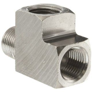 "Polyconn PC127NB 8 Nickel Plated Brass Pipe Fitting, Run Tee, 1/2"" NPT (Pack of 5) Industrial Pipe Fittings"