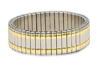 18 K Gold Plated and Stainless Steel Stretch Jubilee Style Men's Link Bracelet Stretches to accommodate most sizes Jewelry