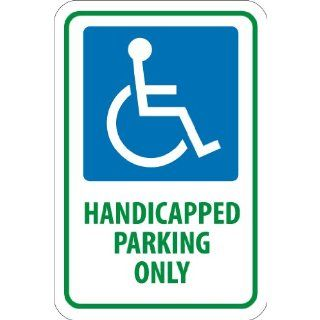 "NMC TM145J Handicap Parking Sign, Legend ""HANDICAPPED PARKING ONLY"" with Graphic, 12"" Length x 18"" Height, Engineer Grade Prismatic Reflective Aluminum 0.080, Green/Blue On White"