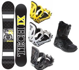 Technine IX Flat Black Snowboard Complete Package with Split T Bindings and Flow Vega BOA Men's Boots Board Size 156 Boot Size 12,Yellow Bindings Sports & Outdoors