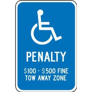 "Accuform Signs FRA161RA Engineer Grade Reflective Aluminum Handicap Parking Sign, For Virginia, Legend ""PENALTY $100 $500 FINE TOW AWAY ZONE"" with Graphic, 12"" Width x 18"" Length x 0.080"" Thickness, White on Blue Industrial &"