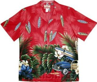 Tropical Surfboard Woodie Men's Hawaiian Aloha Cotton Shirt Clothing