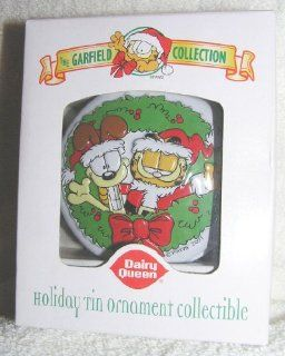 Garfield and Odie in Wreath Tin Christmas Ornament From Dairy Queen 2001  Decorative Hanging Ornaments