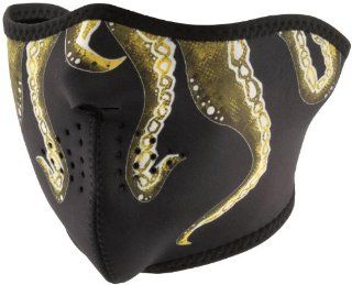 Zan Headgear Neoprene Half Face Mask , Gender Mens/Unisex, Primary Color Black, Distinct Name Octopus, Size OSFM WNFM166H Automotive