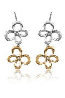 Jessica Simpson 10K Gold Two Tone Diamond Accented Butterfly Earrings Jessica Simpson Jewelry